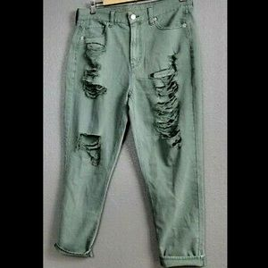 AEO Olive/Sage Destroyed Mom Jeans